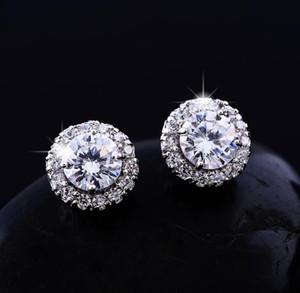Modedesigner-Silber-Farben-Bolzen-Ohrringe Big CZ-Diamant-Ohrringe für Frauen White Zircon-Ohrring-Schmucksachen für Hochzeit