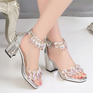 Nouvelles dames chiot sandales talon femme shinny robe chaussures mode strass cristal sandale ornement boucle fête de la fille super chaussures argent