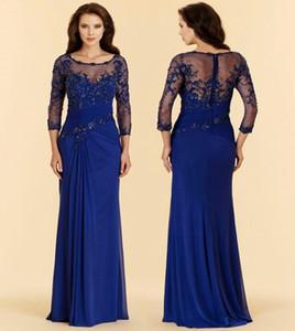 Plus Sizes Vintage Royal Blue Evening Dresses Applique Chiffon Prom Party Dress Formal Event Gown Mother Of The Bride Dress