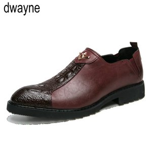 Male Classic Crocodile Wedding Party Oxfords Shoes Italian Men Dress Shoes Brogue Oxfords Slip On Dress Loafers Driving hjm9