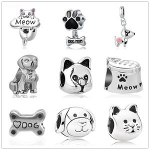 Nouveau livraison gratuite européen MOQ 20pcs argent chien os chat meow maman diy perle Fit origianl Pandora Charme Bracelet D062