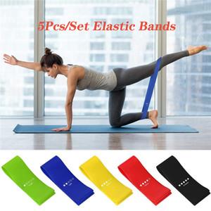 5Pcs / Set de Fitness Elastic Bands Yoga bandas de resistência de borracha Indoor treino Outdoor Fitness Equipment Training Esporte Pilates faixas elásticas
