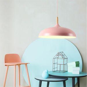 Lámpara de techo Nordic Macaron LED iluminación decorativa creativo arte cantina dirigiendo la lámpara de aluminio de una sola cabeza restaurante araña