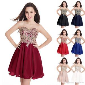 Diseñado corto del regreso al hogar de los vestidos del cordón del oro Apliques de novia Vestidos de cóctel Mini Junior Femenino fiesta de graduación Vestidos CPS406