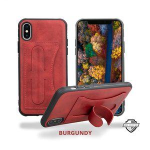 حافظة جلدية قابلة للطي ومحفظة بطبقتين من (Beveled Air Cushion) مع حامل لفتحة البطاقات لهواتف ايفون XS ماكس XR X 8 7 6 سامسونج S10 بلس S10E Note 9
