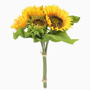 Sunflower Künstliche Blumen Silk Sonnenblumen-Blumenstrauß-Hochzeit dekorative Blumen-Fälschungs-Pflanzen Hochzeit Dekoration Freies Großhandel WZW-YW3360