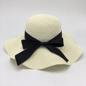 Ala ancha sombreros de paja del sol del sombrero es cuidadosamente tejida con el sombrero del arco grande del lavabo, suave y sombrero plegable con amplios aleros en línea