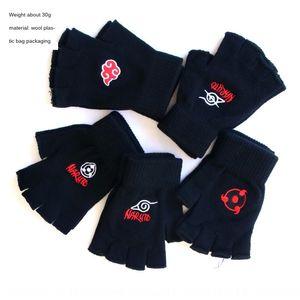 Naruto peripheral Jacquard and half finger jacquard gloves Naruto Wood leaves Sasuke roller eye red cloud gloves wool