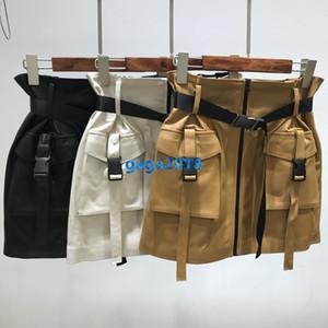 femmes haut de gamme filles courte ceinture de poche cargo jupe en peau de mouton jupes une ligne de robe véritable design de mode de qualité supérieure en cuir robes de luxe
