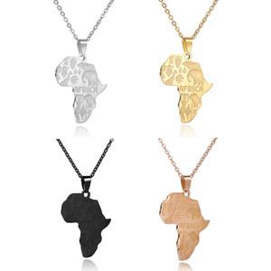 Hip Hop-Afrika-Karte Halskette Edelstahl Anhänger Elefanten Giraffe Löwen Tier für Männer Frauen Mode Schmuck Geschenk