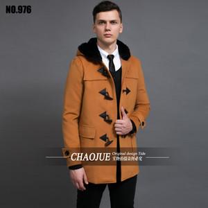 Pulsante clacson cappotto più cappotto di lana mens formato BRITANNICO incappucciato del cammello di lana cappotti rossi per gli uomini neri montgomery