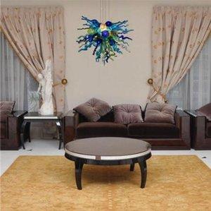 Fantasia moderna do vidro de Murano lustre, Sala decorativa vidro fundido Candelabro, pequeno colorido bulbo LED, LR1094