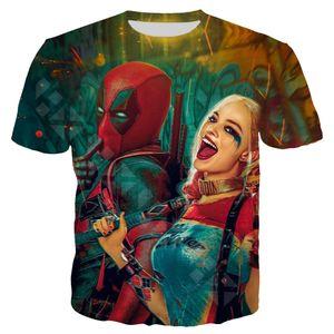 2020 New Funny Deadpool 2 T Shirt Men Women 3D Print Harley Quinn Clown Short Sleeve Fashion Anime Streetwear Couple Tops T200527