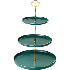 Weinlese-Grün 3 Tier Tortenständer Serviertablett mit Goldkante 2-Schicht-Kuchen-Standplatz-Dessert Platter für Tee-Party-Hochzeit Rosa-Schwarz