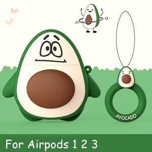 قضية Avocado 3D Kawaii لairpods 12 سماعة أذن Silicone Sleft Storage Protective Case Cute Backage Cover Green Wh الجملة 100pcs