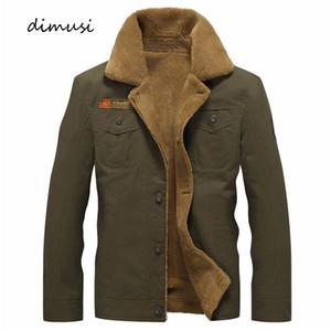 Dimusi Kış Ceket Erkek Askeri Polar Sıcak ceketler Erkek Kürk Yaka Palto Ordu Taktik Ceket Jaqueta Masculina T200319
