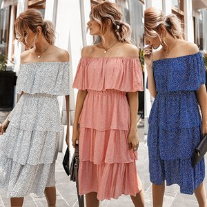 A Large Number of Stock 2020 Spring and Summer New off-Shoulder Cake Group Dress Independent Station Amazon Popular Womens Clothing