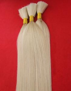플래티넘 금발 컬러 6A 처리되지 않은 인간의 머리 대량 브라질 스트레이트 헤어 위브 번들 S 인간의 털 헤어 없음 씨실 1 개 조각 / 100g