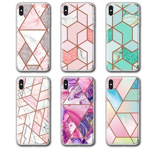 IMD Marble Phone Case For Iphone 11 Full Cover Plating Diamond Geometric Pattern For Iphone XS MAX XR 6 8 Plus 11PRO MAX Marbling Back Cover