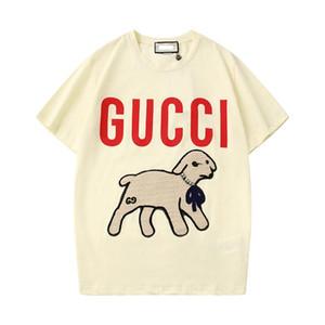 2020 printemps / été agneau fille T-shirt lettre sequin brodé T-shirt d'une blouse à manches courtes col rond décontracté agneau S-3XL