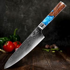 Chef faca de aço Damasco 67 camada VG10 profissional faca afiada japonesa talhador que corta Kiritsuke Gyuto faca de cozinha estável madeira sólida ha