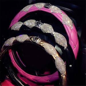 Cubiertas de lujo del volante del coche del cuero de la corona de cristal con diamantes de imitación de Bling Bling para niñas Accesorios interiores del coche universal