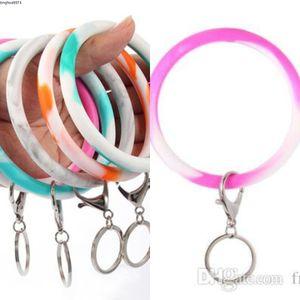 Key Chain Bracciale Holder polso Camouflage silicone Portachiavi rotondo del cerchio arcobaleno braccialetto chiave di Keychain per la donna cinturino da polso LXL512Q-1