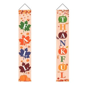 Fall Decorations Porch Decor Sign - Thankful Fall Banner with Maple Leaf Pumpkin Vertical Sign, Autumn Thanksgiving Banner Hangi