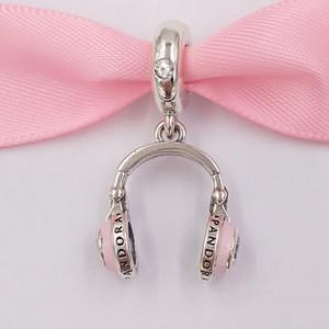 Autentico Argento 925 perline rosa Cuffie fascini ciondola fascino Adatto bracciali monili europei di stile Pandora Collana 797902EN160