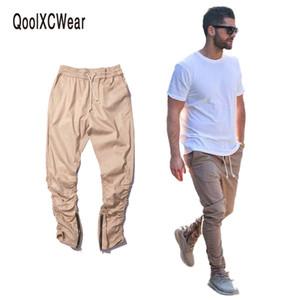 QoolXCWear pantalón casual flaco cremallera botton pantalón Hip Hop sólido Pantalones de la calle Pantalones Hombre Joggers
