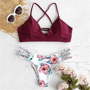 Women's Bikini Cut Beautiful Flower two-piece Swimsuit Push Ups Swimsuit Beachwear Ladies Cut Flowers Beach Split Swimsuit