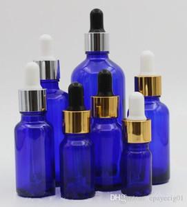 blaue Glas Tropfflasche 10ml 15ml 20ml 30ml 50ml 100ml Parfüm ätherisches Öl e Flüssigglasflasche mit goldsilberweißer Kappe