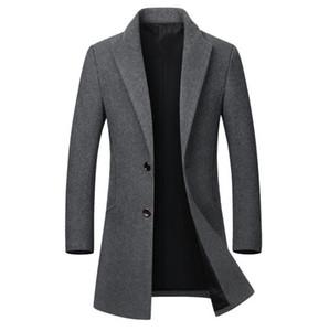 2019 Otoño Invierno Cálido abrigo de lana de los hombres Trench Coat Slim Fit Pea Coat Chaqueta de lana larga informal de negocios