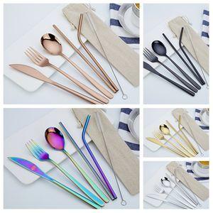 novos pcs 1set aço inoxidável talheres conjunto faca Fork Colher Palha Com Pano Pacote de Cozinha Louça Louça Kit talheres SetsT2I55413