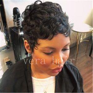Breve natural humano pelucas de pelo corto Negro Pixie Cut peluca de la onda del pelo rizado para las mujeres Negro