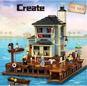 Pre-sale 2020 new The Old Fishing Store Dive Shop City Creator Street View MOC Building Blocks bricks Lepinblocks Kits Toy gift