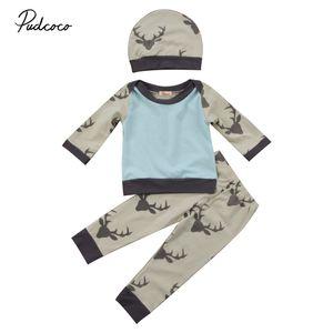 Nouvelle arrivée du nouveau-né bébé fille ClothesThree Piece Suit Cap Pantalons Chemises Pullovers Automne Noël Infantil Vêtements Set