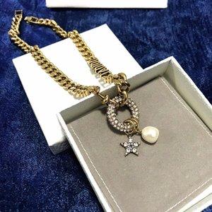 Super anneau chaud lettre classique avec les femmes de bijoux de mode sauvages pendentif diamant perle collier