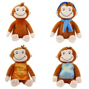 30cm 4 STYLE Curious George Plush Doll Boots Monkey Plush Stuffed Animal Toys For Boys and Girls Y200703