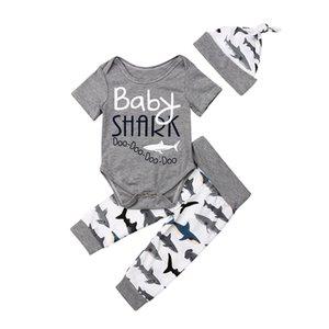 Summer Baby Boy Girls Cotton Shark Outfits Set Newborn Unisex Print Romper Bodysuit+Pants Shorts Hat 3PCS Children Sunsuit Set