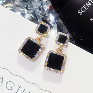 Black Square Geometric Dangle Drop Earrings for Women Crystal Rhinestone Statement Wedding Earring Party Stud Jewelry