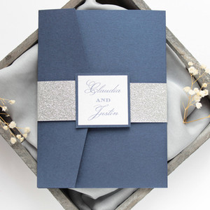 Navy Blue Silver Bottom Wedding Invitation Set, Pocket Invitations with Silver Glitter Belly Band and Tag for Business Anniversary Invite