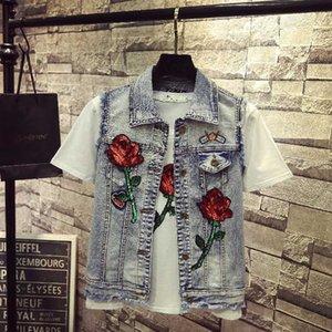 Sleeveless Jeans Floral Women Butterfly Sequin Diamond Ripped Tassel Tank Vest Slim Denim Jacket Coat veste femme