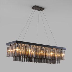 Yeni Modern kristal avizeler dumanlı gri lüks dikdörtgen kolye avize aydınlatma yemek odası kristal avizeler led ışık