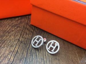 Moda- Chic luxo designer de jóias mulheres brincos H prata brincos de designer par de brincos de designer de noivado casamento