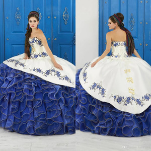 Ruffled Floral Charro Quinceanera Dresses 2020 Strapless Puffy Skirt Lace Embroidery Princess Sweety 16 Girls Masquerade Prom Dress Beads