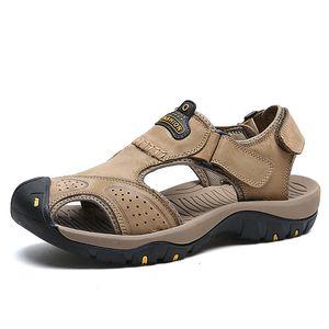 Echtes Leder Herren Sandalen rutschfeste Outdoor Haken Schleife Sandalen rutschfeste Männer Rindsleder Reise Schuhe Multi Farbe Spaziergang Sandale