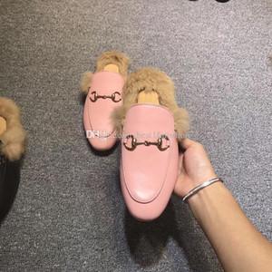Designer des femmes des hommes pantoufles de velours fourrure eather chausson fourrure Princetown mocassins appartements avec horsebit de grande taille de nombreux styles de EUR34-46