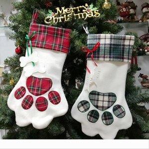 17 polegadas Sherpa suspensão do Natal Stocking para Cat Dog Pet Grande Paw Stocking manta Best Home Decor Lareira