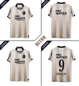 Кор 100th Anniversary ретро трикотажные изделия футбола # 9 RONALDO классического футбола рубашка Vintage Golden равномерных